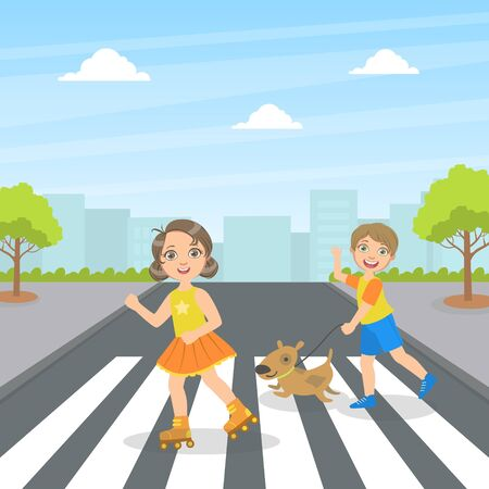 Cute Kids and Dog Using Cross Walk to Cross Street, Children Walking on the Street Vector Illustration