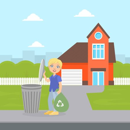 Cute Boy Standing with Trash Bag Near Garbage Container, Boy Throwing Garbage into Trash Bin, Child Doing Household Chores Vector Illustration
