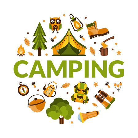 Camping Banner Template with Hiking Equipment of Round Shape, Summer Adventures, Mountaineering, , Trekking on Nature Cartoon Vector Illustration