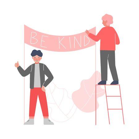 Deux garçons mignons accrocher une affiche avec des inscriptions aimables, illustration vectorielle de concept de bonnes manières Vecteurs