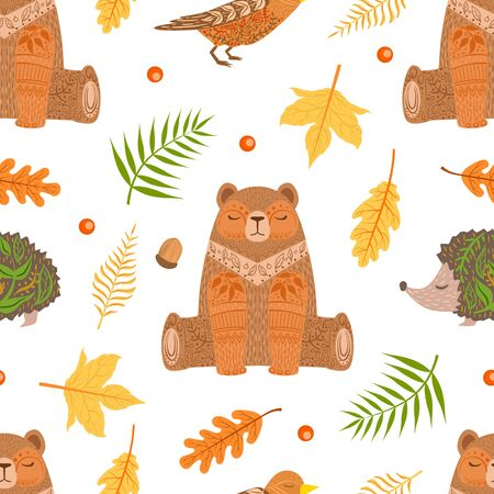 Autumn Forest Seamless Pattern, Colorful Fall Leaves and Wild Woodland Bear Anima Cartoon Vector Illustration