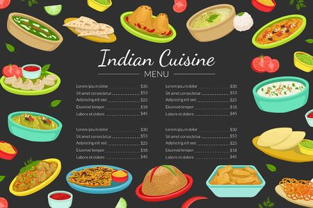 Indian Traditional Food Menu Template, National Cuisine Dishes, Restaurant or Cafe Brochure, Delicious Food Menu Cover Vector Illustration