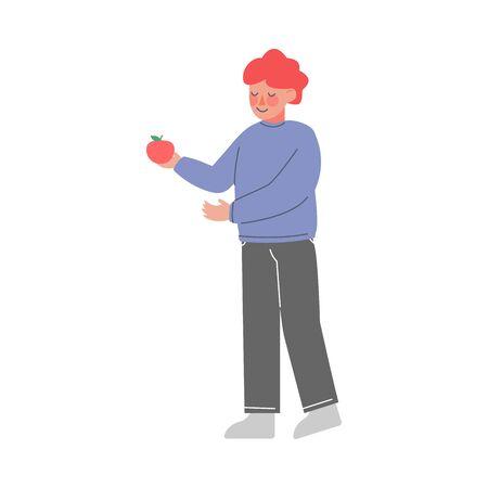 Cute Little Boy Standing and Holding Red Apple Vector Illustration Vektorgrafik