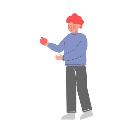 Cute Little Boy Standing and Holding Red Apple Vector Illustration