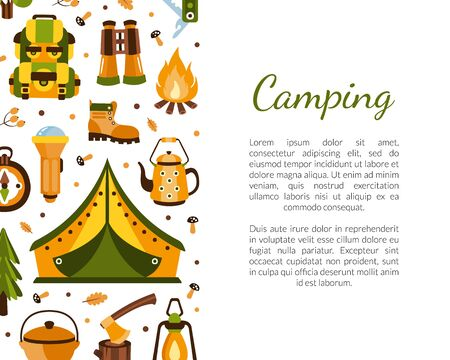 Camping Banner Template with Space for Text, Poster, Brochure, Certificate, Summer Adventures, Mountaineering, Hiking, Trekking on Nature Cartoon Vector Illustration