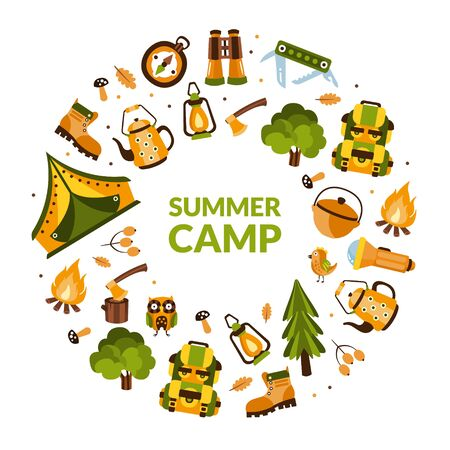Summer Camp Banner Template with Hiking Equipment of Round Shape, Camping, Mountaineering, Hiking, Trekking on Nature Cartoon Vector Illustration Çizim