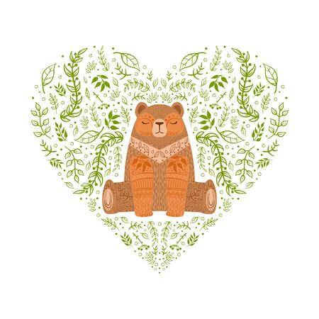 Heart Shape Made of Green Leaves and Brown Bear Wild Animal, Woodland Forest Background Cartoon Style Vector Illustration.