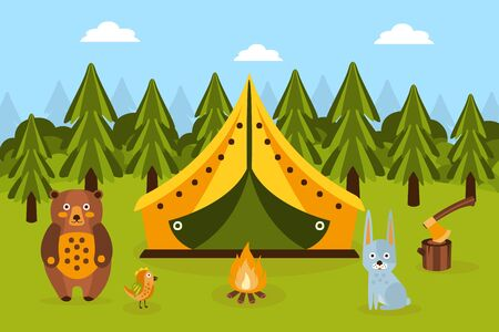 Summer Camping in Forest, Tent, Fir Trees, Bonfire, Rabbit and Bear, Hiking, Trekking on Nature Cartoon Vector Illustration