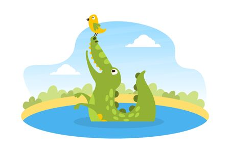 Cute Friendly Crocodile Sitting in the Pond with Lovely Bird on his Nose, Wild African Animal Character Cartoon Vector Illustration Ilustração