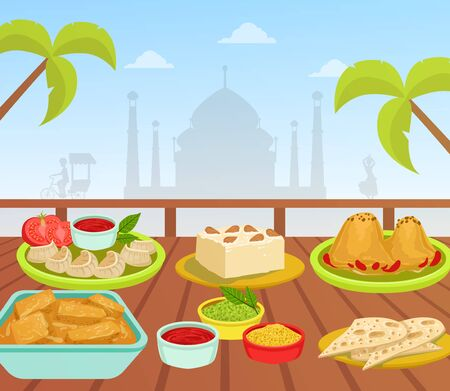 Indian Cuisine, National Tasty Food Dishes on Wooden Table on Background of Taj Mahal Building Vector Illustration