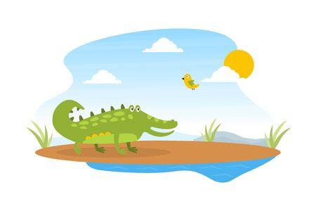 Cute Friendly Crocodile and Lovely Bird on African Sunny Landscape, Wild African Animal Character Cartoon Vector Illustration Illustration