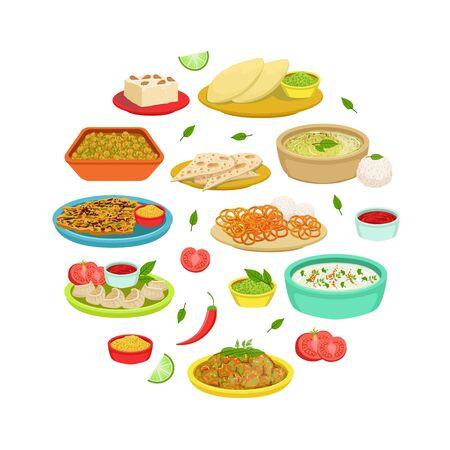 Indian Traditional Food Banner, Asian Cuisine Meal of Round Shape, Restaurant or Cafe Design Vector Illustration Illustration