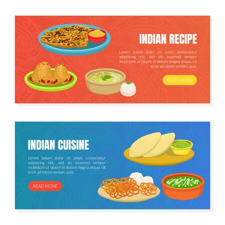 Indian Cuisine and Recipes Landing Page Templates Set, Traditional Asian Tasty Dishes, Ordering Online Service, Takeaway Meal, Tasty Recipes Vector Illustration