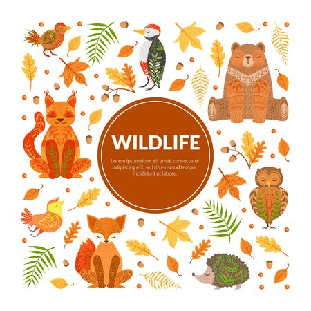 Wildlife Banner Template, Autumn Forest Seamless Pattern, Colorful Fall Leaves and Cute Woodland Animals Cartoon Vector Illustration