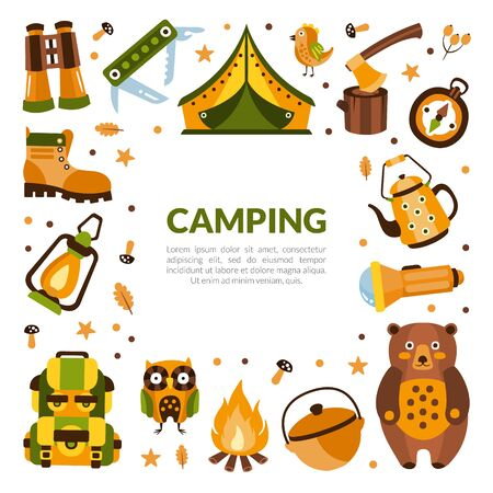 Camping Banner Template with Hiking Equipment, Summer Adventures, Mountaineering, Hiking, Trekking on Nature Vector Illustration Çizim