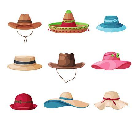 Collection de chapeaux d'été, coiffure en paille et textile pour hommes et femmes, illustration vectorielle de chapeaux élégants vintage