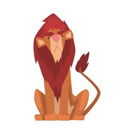 Funny Lion, Mammal Jungle Animal Character, Front View Cartoon Vector Illustration Иллюстрация