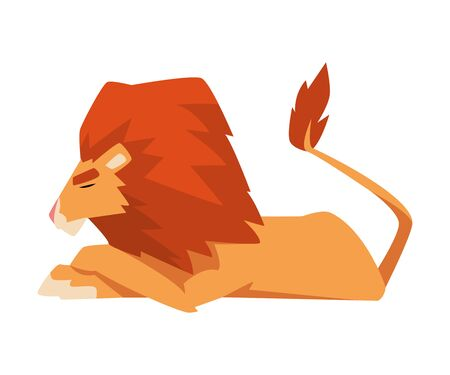 Lying Lion, Mammal Jungle Animal Character, Side View Cartoon Vector Illustration Иллюстрация