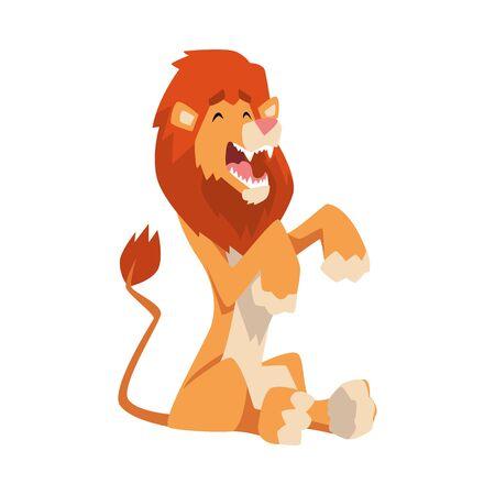 Cute Playful Lion, Mammal Jungle Animal Character Cartoon Vector Illustration