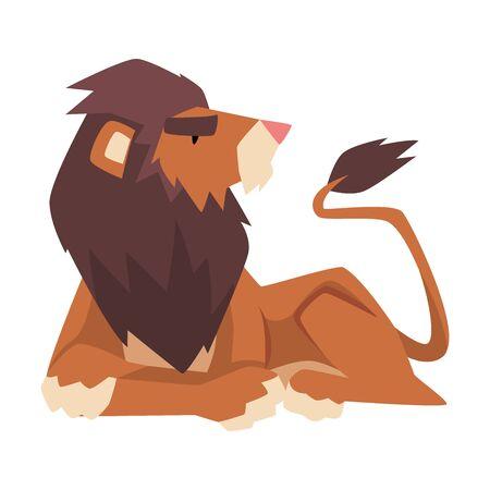 Lying Powerful Lion, Mammal Jungle Animal Character Cartoon Vector Illustration Иллюстрация