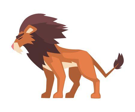 Aggressive Roaring Powerful Lion, Mammal Jungle Animal Character, Side View Cartoon Vector Illustration