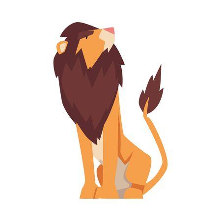 Proud Powerful Lion, Mammal Jungle Animal Character Cartoon Vector Illustration