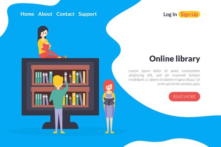 Online Library Electronic Landing Page Template, Internet Bookstore, Computer with Bookshelves on the Screen Flat Vector Illustration