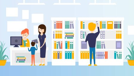 Bookstore or Library Interior with Bookshelves, People Choosing, Buying and Returning Books Flat Vector Illustration 向量圖像
