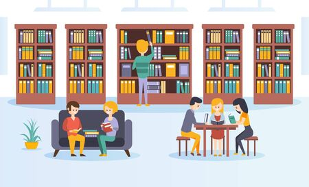 Library Interior with Bookshelves, People Choosing and Reading Books Flat Vector Illustration