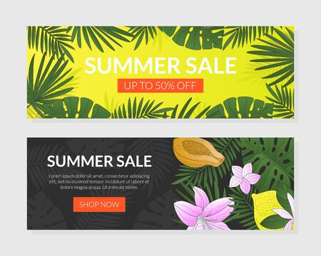 Summer Sale Landing Page Templates Set, Web Page, Mobile App, Homepage with Exotic Green Leaves and Flowers Vector Illustration Иллюстрация