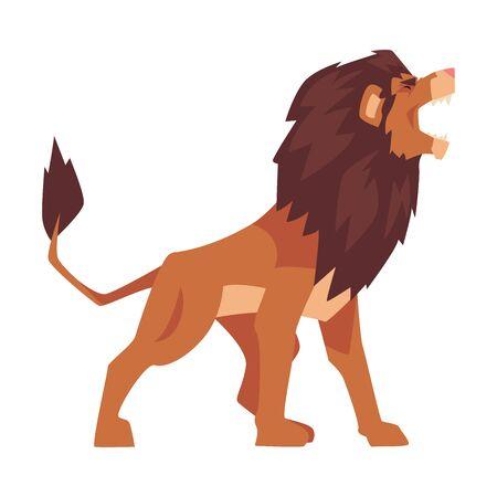 Roaring Powerful Lion, Mammal Jungle Animal Character Vector Illustration Иллюстрация