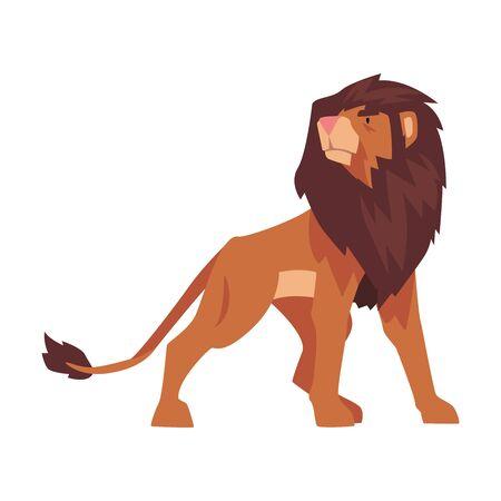 Proud Powerful Lion, Mammal Wild Cat Jungle Animal Vector Illustration