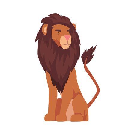 Sitting Lion, Proud Powerful Mammal Jungle Animal Vector Illustration