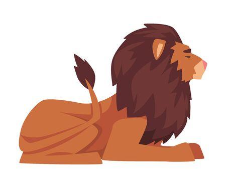 Lying Lion, Proud Powerful Mammal Jungle Animal, Side View Vector Illustration