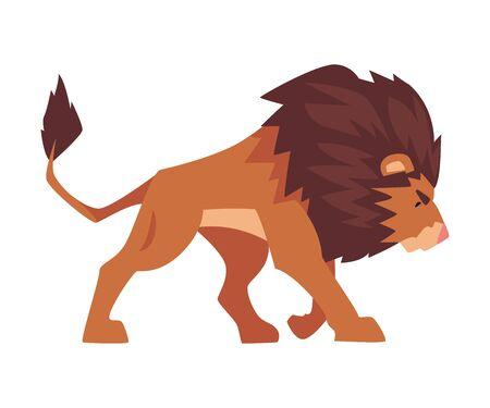 Walking Lion, Proud Powerful Mammal Jungle Animal, Side View Vector Illustration