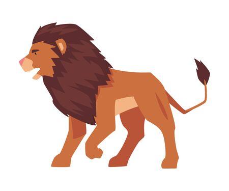 Proud Powerful Lion, Safari Mammal Jungle Animal Vector Illustration