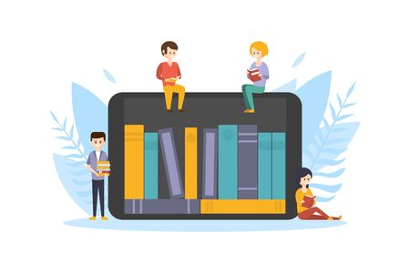 Online Electronic Library, Internet Bookstore, Tiny People Sitting on Tablet with Bookshelves on Screen and Reading Books Flat Vector Illustration 向量圖像