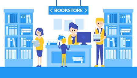 Bookstore Interior with Bookshelves, People Looking, Choosing and Buying Books Flat Vector Illustration