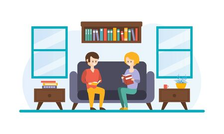 Young Man and Woman Reading Books Sitting on Couch, Home Library Interior Flat Vector Illustration