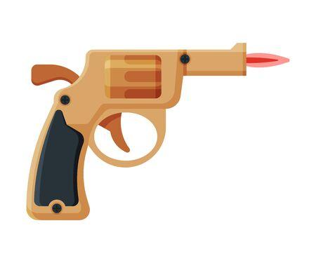 Retro Gun Pistol Shape Cigarette Lighter with Fire, Flammable Smoking Equipment Vector Illustration Illustration