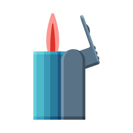Blue Cigarette Lighter with Fire, Flammable Smoking Equipment Vector Illustration Illustration