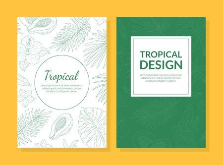 Modèle de carte de conception tropicale avec des feuilles et des fleurs exotiques dessinées à la main peut être utilisé pour les cosmétiques, les produits de soins de santé, le spa, le parfum, l'illustration vectorielle d'invitation de mariage