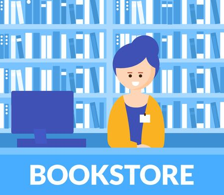 Bookstore Interior with Bookshelves and Cheerful Cashier at the Desk, Advertising Banner, Poster, Promotional Leaflet Flat Vector Illustration