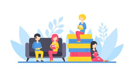 People Reading Books, Tiny Girl Sitting on Pile of Books, Students Relaxing and Reading Together Flat Vector Illustration