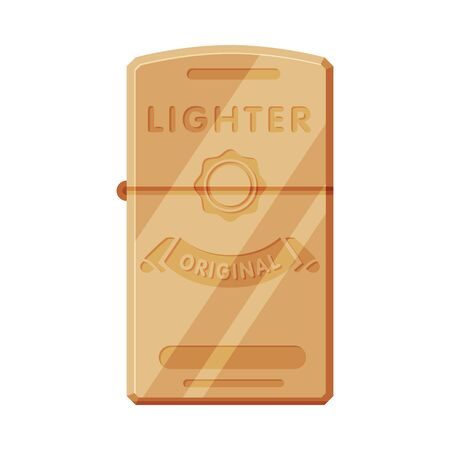 Steel Cigarette Lighter, Flammable Smoking Equipment Vector Illustration
