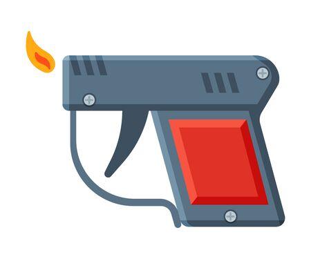Pistol Shape Cigarette Lighter with Fire, Flammable Smoking Equipment Vector Illustration Illustration