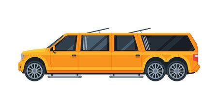 Yellow Limousine Car, Premium Luxurious Vehicle, Side View Flat Vector Illustration Ilustração