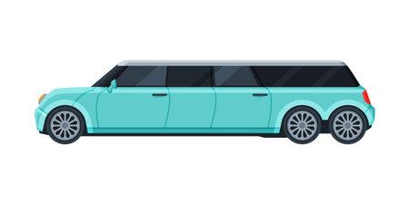 Limousine Car, Elegant Premium Luxurious Light Blue Vehicle, Side View Flat Vector Illustration