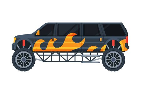 Black Limousine Car Painted with Flame, Elegant Premium Luxurious Vehicle, Side View Flat Vector Illustration