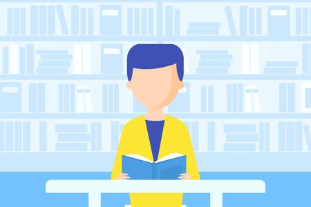 Man Sitting at Desk and Reading Book, Bookstore or Library with Bookshelves Flat Vector Illustration